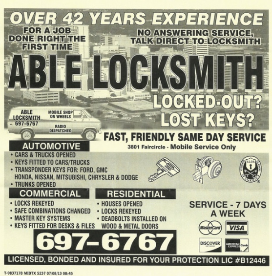 Veteran Locksmith with over 45 years of experience. LIC #B12446